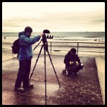 Fellow Journalist checking out my rig. #stopandchat #rockawaybeach #canonman #5DMIII #sandy. James Katsipis