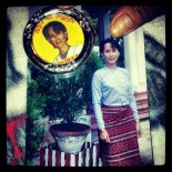 A young Aung San Suu Kyi on a visit to the Chin State, Burma (c) www.ceciliayu.com, 2013