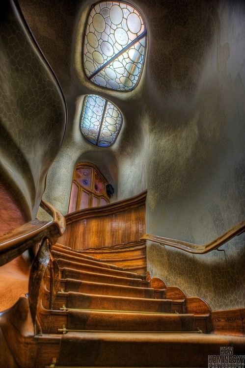 Staircase and Skylights, Casa Batlló, Barcelonaphoto via www.kenkaminesky.com