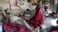 Backstage with the Babas at Pashupatinath, just after Shivratri 2009 (c) Caroline Martin 2010