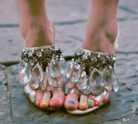 Prada chandelier & rainbow pedicure