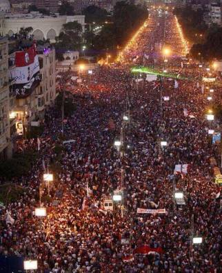 Tahrir Square and protesters outside the Presidential Palace