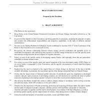 #COP21 #Paris Draft Outcome of #UNFCCC Climate Change Agreement #2015