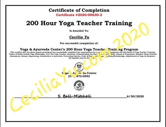 200YTT Cecilia Yu Certificate